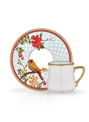 Glore Zena 6'Lı Türk Kahvesi Fincanı Renkli